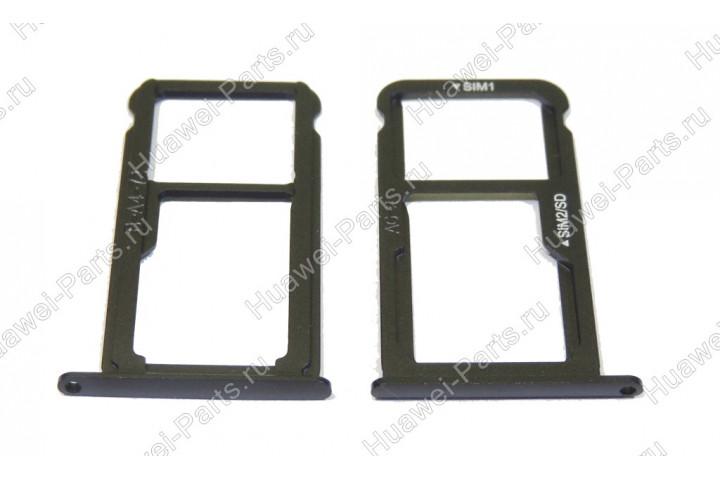 Запчасти Huawei: Лоток симкарт и карт памяти Huawei P10 чёрный